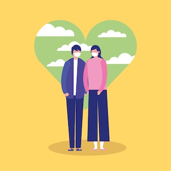 Para rodziców za pomocą masek twarzy w ilustracji serca