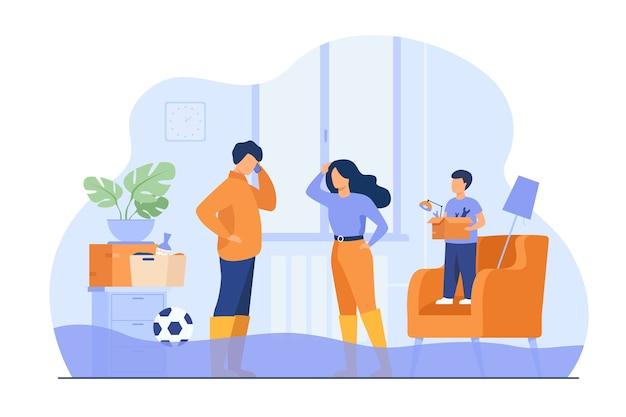 Para rodzinna chodząca po kostki w wodzie w domu, dzwoniąc do serwisu hydraulicznego, aby naprawić pęknięte rury. ilustracja wektorowa na przepełnienie, zalany dom, koncepcja awaryjnego