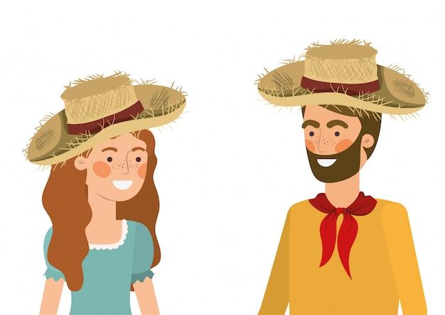 Para rolników rozmawia z słomkowy kapelusz