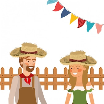 Para rolników rozmawia ze słomkowym kapeluszem