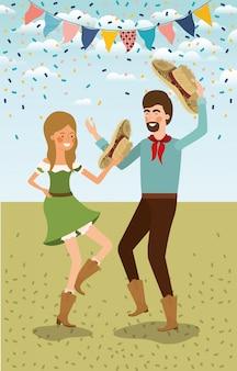 Para rolników świętuje z girlandami