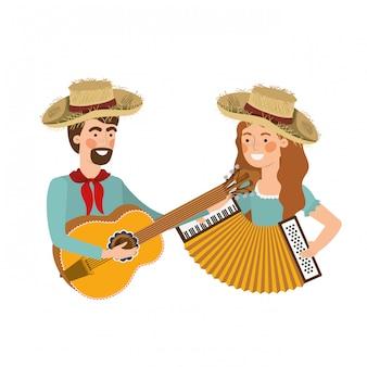 Para rolników z instrumentami muzycznymi