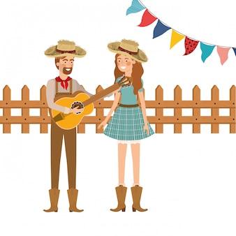 Para rolników z instrumentem muzycznym