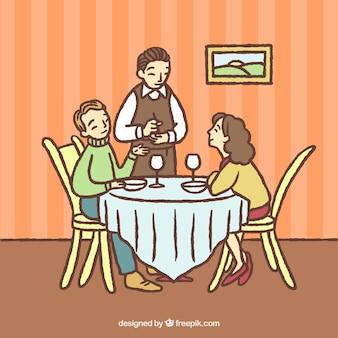 Para rysowana ręcznie i kelner