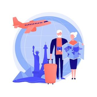 Para seniorów podróżuje, odwiedza zagraniczne kraje. starsi ludzie jadą na wycieczkę do paryża. pobyt emerytalny, rekonstrukcja, turystyka. ilustracja wektorowa na białym tle koncepcja metafora