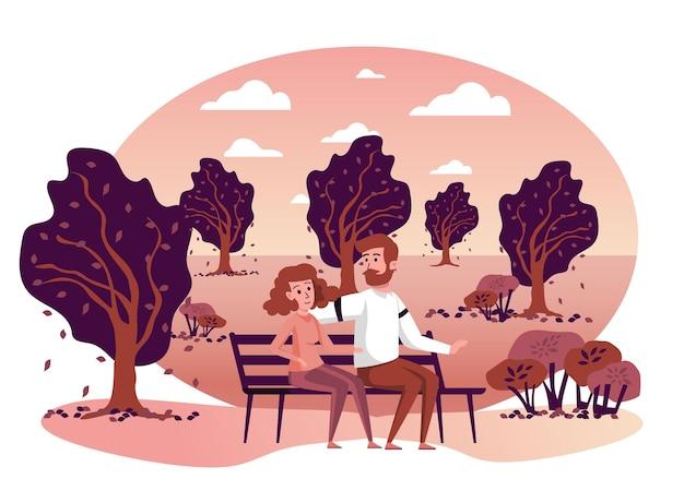 Para siedzi na ławce w jesiennej scenie na białym tle park