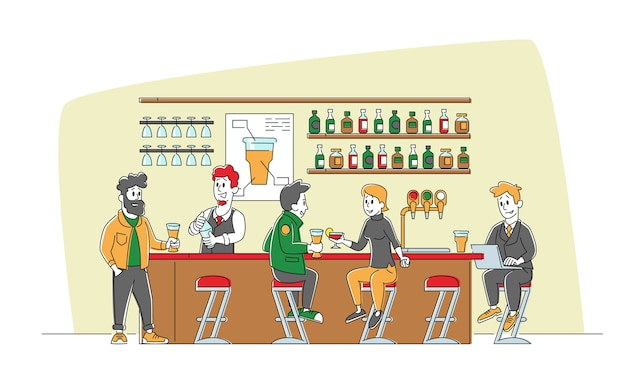 Para siedzieć przy wysokich krzesłach, pijąc alkohol na ladzie