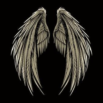 Para skrzydłowa wektorowa ilustracja odizolowywająca