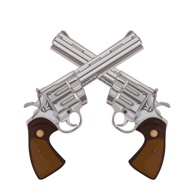 Para skrzyżowanych pistoletów na starych ilustracjach broni retro