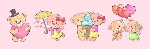 Para słodkie misie na różowym tle