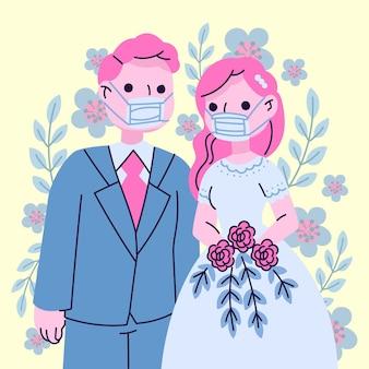 Para ślub noszenie masek na twarz