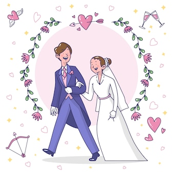 Para ślub rysowane ręcznie