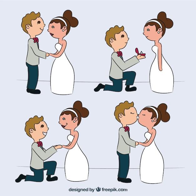 Para ślub w czterech romantyczne chwile