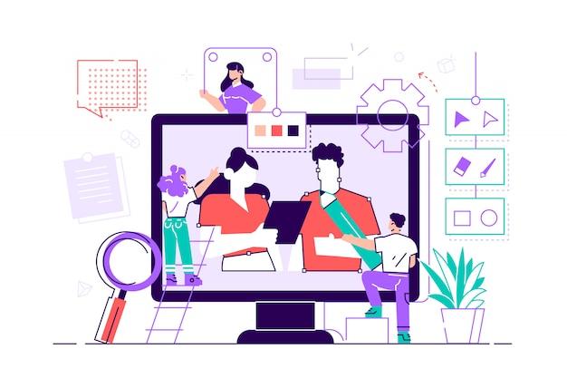 Para śmieszne młody mężczyzna i kobieta rysunek za pomocą pióra w edytorze graficznym. śliczni projektanci cyfrowi lub ilustratorzy pracujący razem na gigantycznym ekranie komputera. kolorowa ilustracja kreskówka płaski