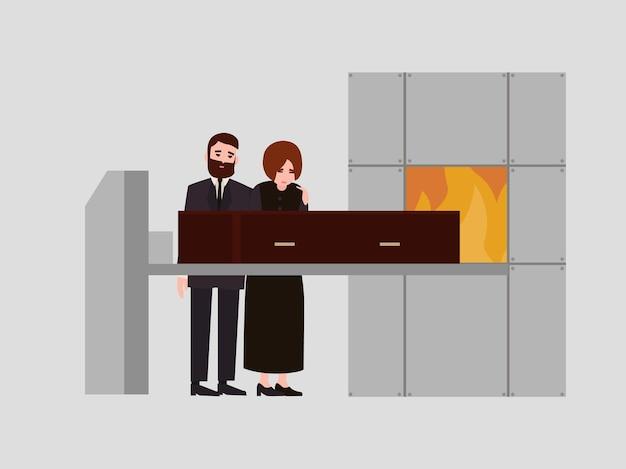 Para smutny mężczyzna i kobieta ubrani w czarne ubrania żałobne stojący w pobliżu trumny w krematorium i płacz. ceremonia kremacji, rytuał pogrzebowy. ilustracja wektorowa kolorowe w stylu cartoon płaskie.