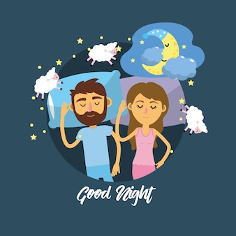 Para śpiąca razem z dobrymi snami