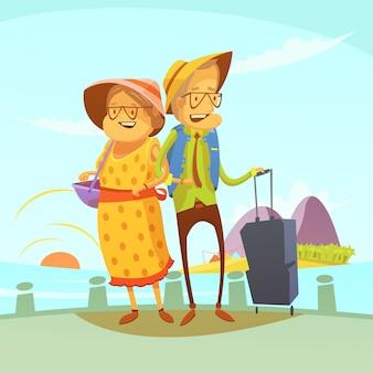 Para starszych podróżujących w tle