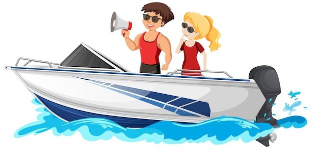 Para stojących na łodzi motorowej na białym tle