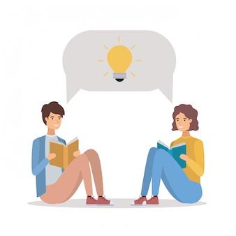 Para studentów, czytanie książek