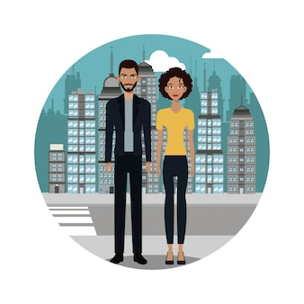 Para styl życia razem tła miejskiego