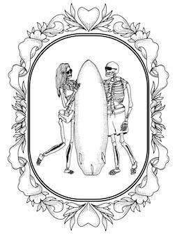 Para szkielet z deską surfingową w ramce ornament