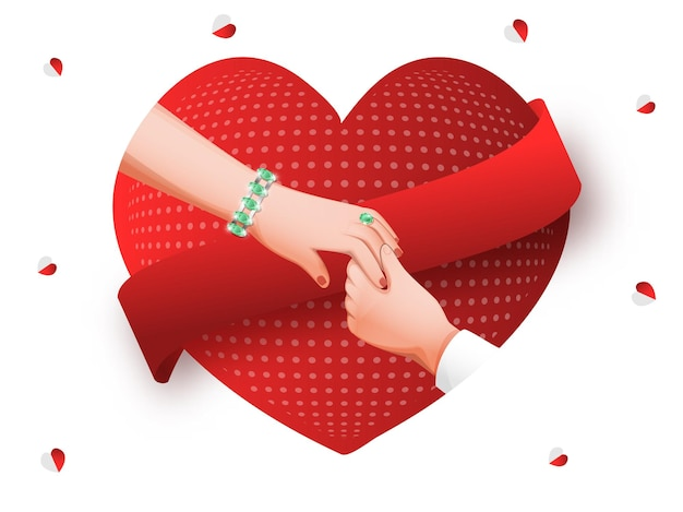 Para trzymając się za ręce na czerwonym i białym tle kształtu serca.