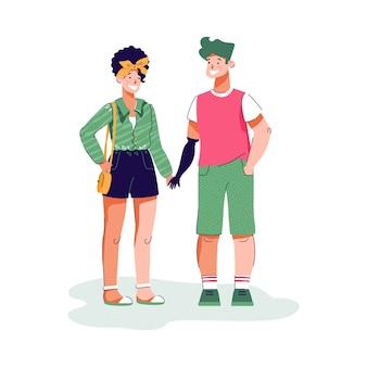 Para trzymając się za ręce na zewnątrz