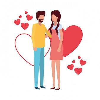 Para trzymając się za ręce z charakterem serca