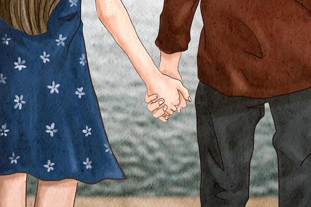 Para trzymająca się za ręce romantyczna ilustracja walentynkowa