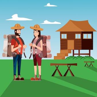 Para turystów z krajobrazem i ikonami