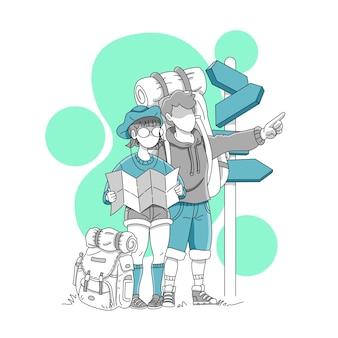 Para turystów z plecakami w podróży