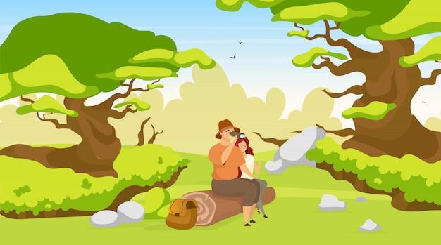 Para turystyczna płaska ilustracja. kobieta i mężczyzna siedzi na dziennik w lesie. piesi obserwujący przyrodę. trekkers na odpoczynek w lesie. oglądanie dzikiej przyrody. postaci z kreskówek z plecakiem