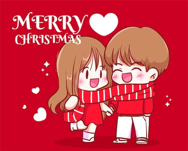 Para ubrana razem w szalik i trzymająca się za ręce na obchodach świąt bożego narodzenia ręcznie rysowana ilustracja kreskówka sztuka