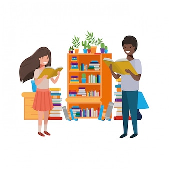 Para uczeń z czytelniczą książką w rękach