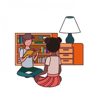 Para uczeń z czytelniczą książką