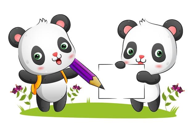 Para uroczych pand trzyma czysty papier i duży ołówek na ilustracji w parku