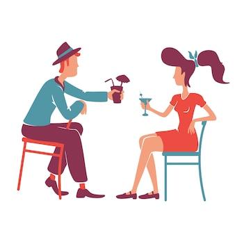Para w barze w stylu retro, ciesząc się koktajle bez twarzy postaci bez twarzy. staromodny chłopak i dziewczyna opowiada, pijący alkohol wpólnie odizolowywał kreskówki ilustrację