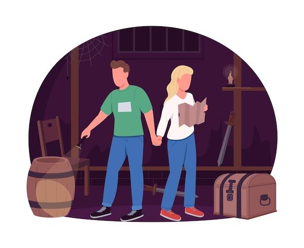 Para w escape roomie, baner sieciowy 2d, plakat. mężczyzna trzyma rękę kobiety. romantyczni partnerzy płaskie postacie na tle kreskówki. naszywka do wydrukowania z pomysłem na zabawną randkę, kolorowy element sieciowy