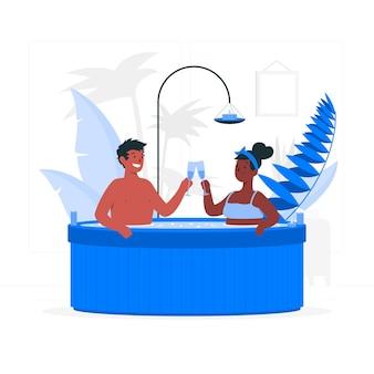 Para w ilustracji koncepcji jacuzzi