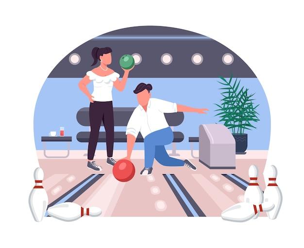 Para w kręgielni 2d baner internetowy, plakat. dwie osoby grają w grę. przyjaciele płaskie postacie na tle kreskówki. naszywka do wydrukowania weekendowa aktywność sportowa, kolorowy element sieciowy