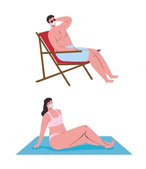 Para w masce medycznej w stroju kąpielowym, turystyka z koronawirusem, zapobieganie covid 19 w letnie wakacje