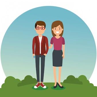 Para w parku znaków
