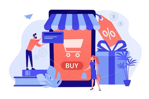 Para w pobliżu ogromnego smartfona z ikoną kupna na ekranie dokonuje zakupów online. inteligentny handel detaliczny, rozwiązania mobilne w handlu detalicznym, iot i koncepcja inteligentnego miasta. ilustracji wektorowych