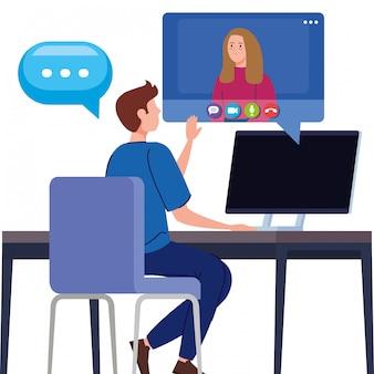 Para w wideokonferencji w komputerze