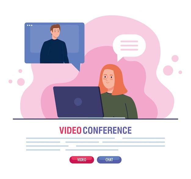 Para w wideokonferencji w laptopie
