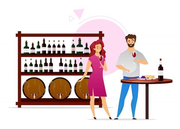 Para w wino lochu koloru płaskiej ilustraci. produkcja wina, winifikacja. mężczyzna i kobieta z szklankami. butelki i beczki. winiarnia. degustacja postać z kreskówki na białym tle na biały