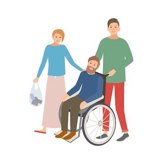 Para wolontariuszy płci męskiej i żeńskiej pomagająca osobie niepełnosprawnej. nastoletni chłopak i dziewczyna pomoc człowiekowi na wózku inwalidzkim. dobrowolna pomoc i opieka społeczna. kolorowa ilustracja wektorowa w stylu płaskiej kreskówki