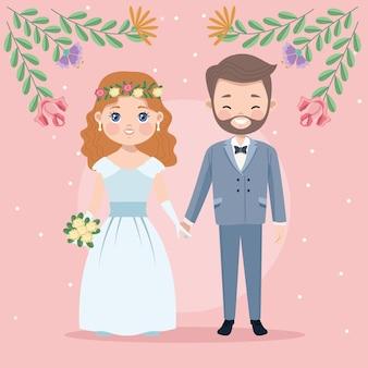 Para z dekoracją kwiatową