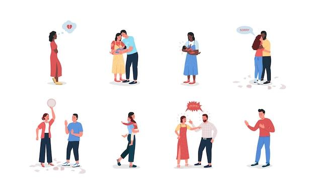 Para z dziećmi płaski szczegółowy zestaw znaków. młoda rodzina.
