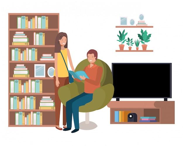 Para z książką w bawialni avatar charakterze